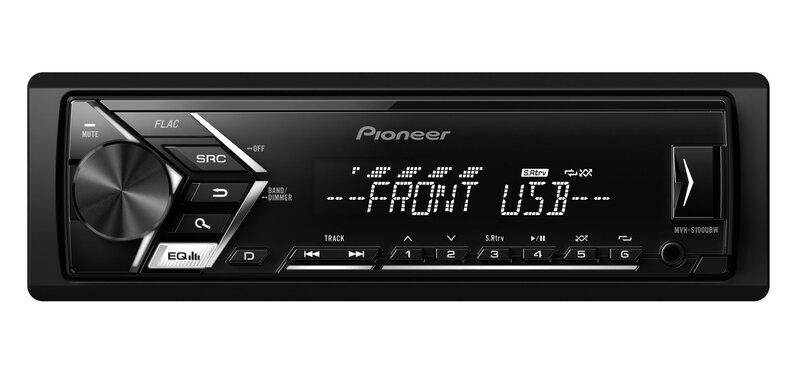 Pioneer, MVH-S100UBW RDS magnetola ar USB