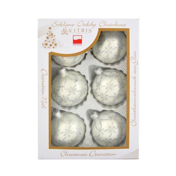 Ziemassvētku eglīšu rotājumi Vitbis, 7 cm, 6 gab.