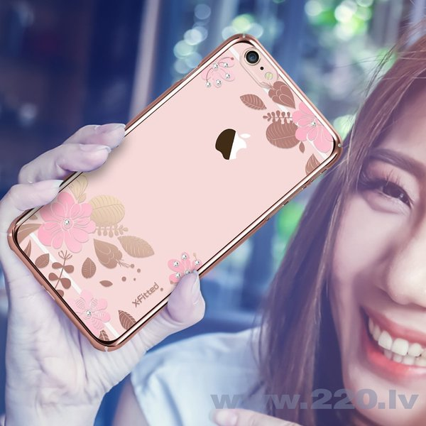 X-Fitted Plastic Case With Swarovski Crystals for Apple iPhone 6 / 6S Pink / Pink Flower