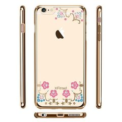X-Fitted Plastic Case With Swarovski Crystals for Apple iPhone 6 / 6S Gold / Lucky Flower
