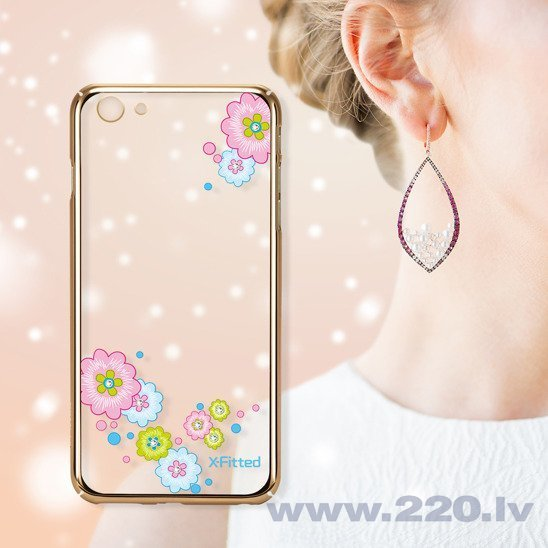 X-Fitted Plastic Case With Swarovski Crystals for Apple iPhone 6 / 6S Gold / Flourishing Bloom