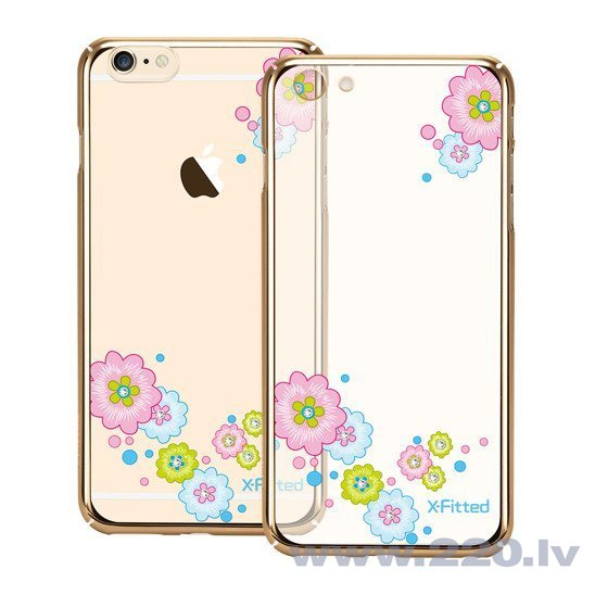 X-Fitted Plastic Case With Swarovski Crystals for Apple iPhone 6 / 6S Gold / Flourishing Bloom lētāk