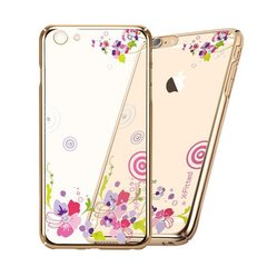 X-Fitted Plastic Case With Swarovski Crystals for Apple iPhone 6 / 6S Gold / Colorful Floral