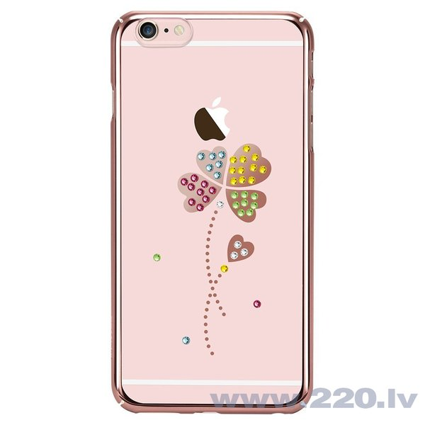 X-Fitted Plastic Case With Swarovski Crystals for Apple iPhone 6 / 6S Rose gold / Lucky Clover lētāk
