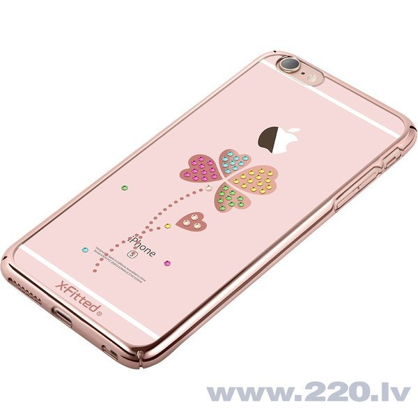 X-Fitted Plastic Case With Swarovski Crystals for Apple iPhone 6 / 6S Rose gold / Lucky Clover internetā