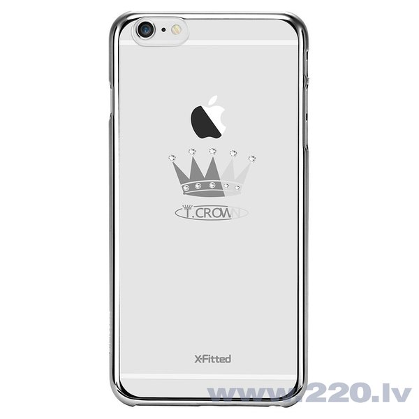 X-Fitted Plastic Case With Swarovski Crystals for Apple iPhone 6 / 6S Silver / Crown lētāk
