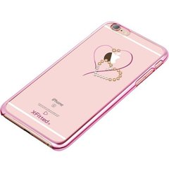 X-Fitted Plastic Case With Swarovski Crystals for Apple iPhone 6 / 6S Pink / Hearts
