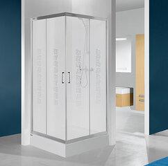 Stūra dušas kabīne Sanplast TX KN/TX4b 90s, matēts sudraba profils, caurspīdīgs stikls W0, ar paliktni