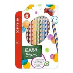 Krāsainie zīmuļi Stabilo Easy colorslabrocim 12 krāsas+ zīmuļu asināmais. cena un informācija | Modelēšanas un gleznošanas piederumi | 220.lv