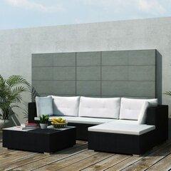 vidaXL 5-daļīgs dārza atpūtas mēbeļu komplekts ar matračiem, PE, melns cena un informācija | Dārza mēbeļu komplekti | 220.lv