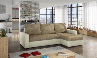 Universāls stūra dīvāns Livio, brūns/krēmkrāsas