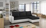 Universāls stūra dīvāns Livio, balts/melns