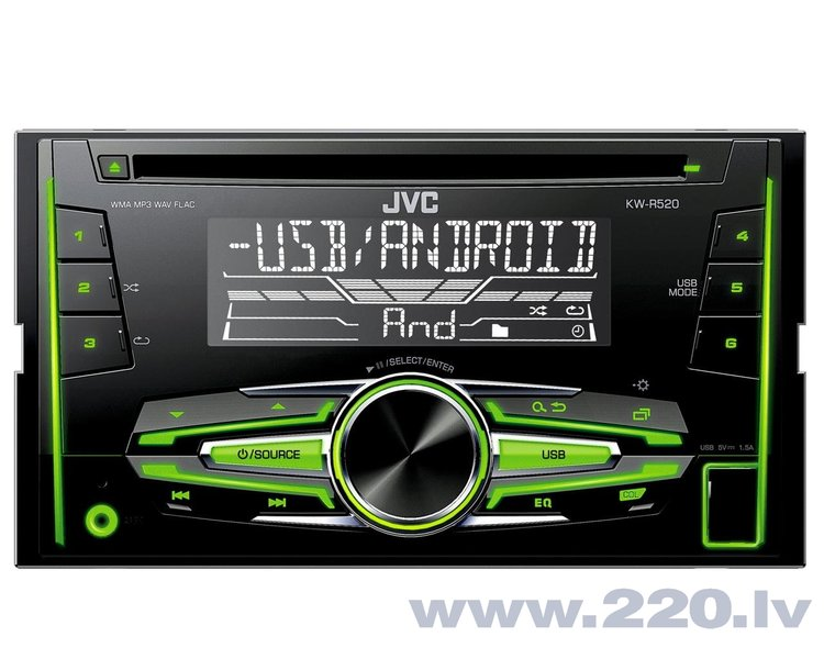 JVC, KW-R520 2-DIN USB/CD MP3 magnetola su AUX internetā