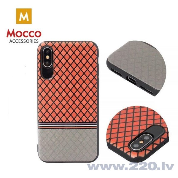 Aizsargmaciņš Mocco Trendy Grid And Stripes Silicone Back Case Apple iPhone X Red (Pattern 2) internetā
