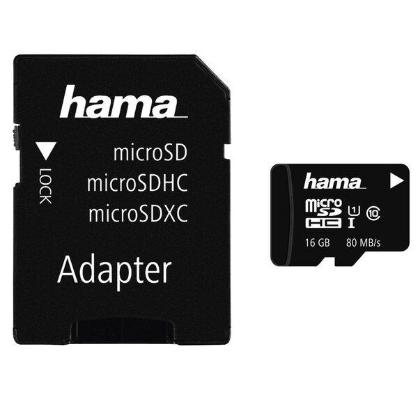 Atmiņas karte Hama microSDHC 16GB, klase 10 UHS-I, 80MB/s + adapteris cena