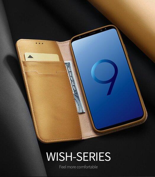 Atverams ādas maciņš Dux Ducis Wish Magnet Case, piemērots Apple iPhone X telefonam, brūns lētāk