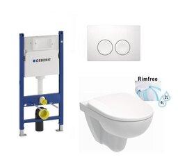 WC komplekts Geberit ramis, tualetes pods Kolo Nova Pro Rimfree, Soft Close vāks