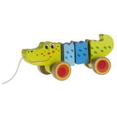 Koka krokodils uz riteņiem ar auklu Smiki cena un informācija | Rotaļlietas zīdaiņiem | 220.lv