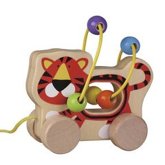 Koka tīģeris ar riteņiem un virvi, Smiki cena un informācija | Koka tīģeris ar riteņiem un virvi, Smiki | 220.lv