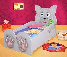 Gulta ar matraci Cat Big, pelēka cena un informācija | Bērnu gultas | 220.lv