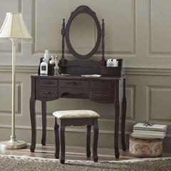 Kosmētikas galds KS140-S ar sēdekli, brūns cena un informācija | Kumodes, naktsskapīši | 220.lv