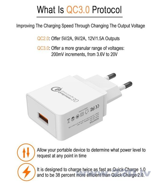 Dux Ducis C30 Qualcomm 3.0 Premium Travel Charger 12V / USB / 3A White internetā