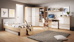 Bērnu istabas mēbeļu komplekts Happy, balts/brūns