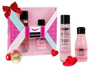 Ķermeņa kopšanas līdzekļu komplekts: dušas želeja 125 ml + ķermeņa sprejs 150 ml Aquolina Pink Window Wild Strawberry cena un informācija | Dušas želejas, eļļas | 220.lv