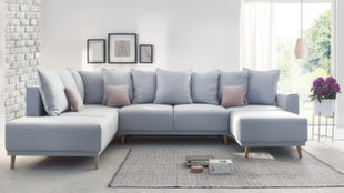 Stūra dīvāns BoboChic Mola XXL, gaiši zils