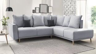 Mīksts stūra dīvāns Mola L, pelēks cena un informācija | Stūra dīvāni | 220.lv