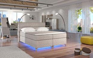 Gulta Amadeo ar LED apgaismojumu, 140x200 cm, gobelēns, krēmkrāsas
