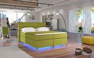 Gulta Amadeo ar LED apgaismojumu, 180x200 cm, gobelēns, zaļa