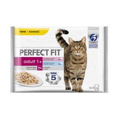 Perfect Fit ar lasi/baltās zivis, 4 x 85 g цена и информация | Консервы для котов | 220.lv