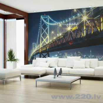Foto tapete - Bay Bridge at night cena un informācija   Fototapetes   220.lv