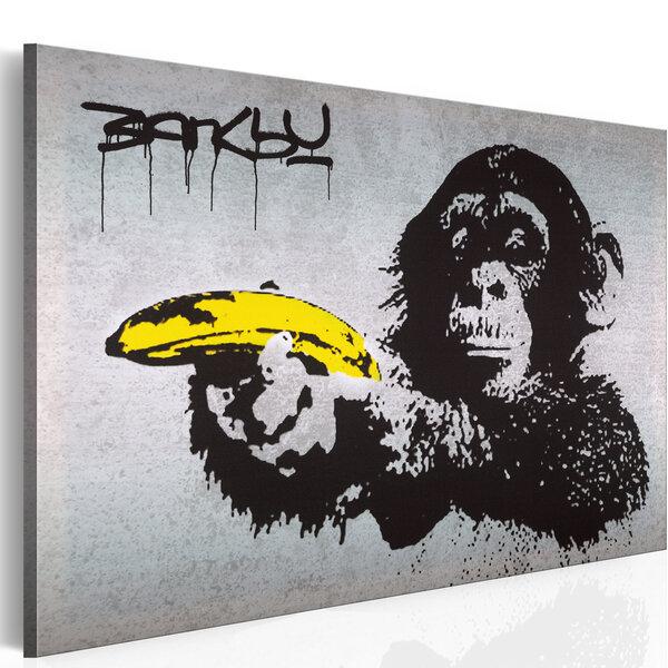 Glezna - Stop or the monkey will shoot! (Banksy) cena un informācija | Gleznas | 220.lv