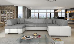 Mīksts stūra dīvāns Havana, gaiši pelēks/balts cena un informācija | Stūra dīvāni | 220.lv