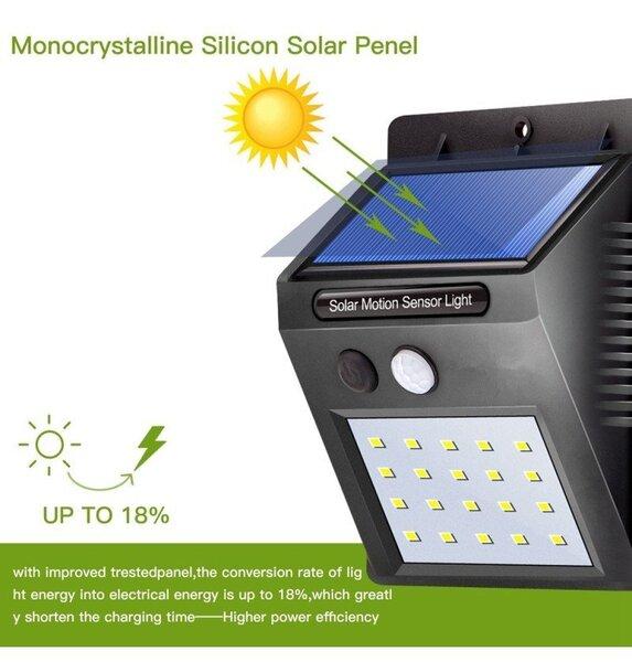 Saules baterijas LED gaismeklis ar kustības sensoru 20 SMD