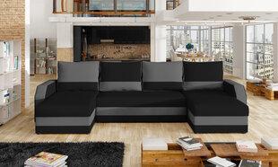 Universāls mīkstais stūra dīvāns Marion, melns/gaiši pelēks