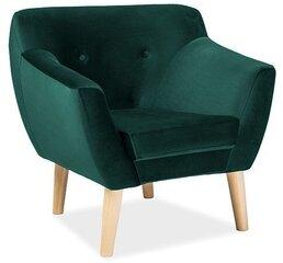 Krēsls Bergen 1 Velvet, tumši zaļš cena un informācija | Atpūtas krēsli | 220.lv