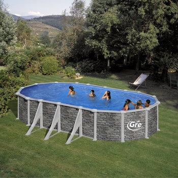 Ovāla karkasa baseins Gre Córcega ar smilšu filtru, 730x375x132 cm