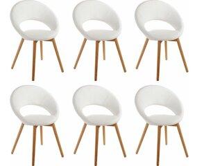 6-u krēslu komplekts Oregon, baltas/ozola krāsas cena un informācija | Virtuves un ēdamistabas krēsli | 220.lv