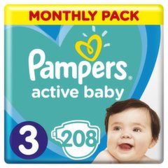Подгузники PAMPERS Active Baby-Dry, Monthly Box, 3 размер, 6-10кг, 208 шт.