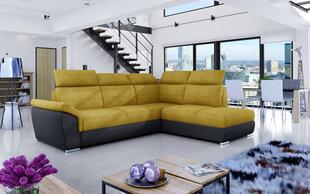 Stūra dīvāns Loreto, dzeltens/melns cena un informācija | Stūra dīvāni | 220.lv