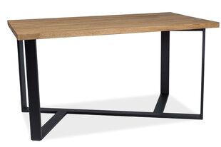 Galds Bernardo, 180 cm, dabīgs finieris, melnas/ozola krāsas cena un informācija | Virtuves un pusdienu galdi | 220.lv