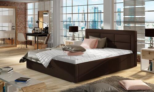 Кровать Rosano MTP, 200x200 см, искусственная кожа, коричневая