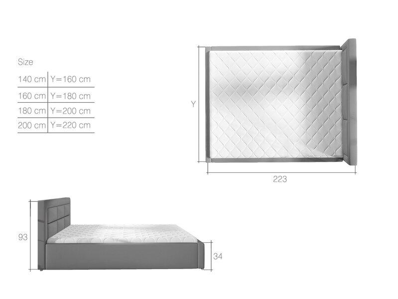 Кровать Rosano MD, 200х200 см, светло-коричневая