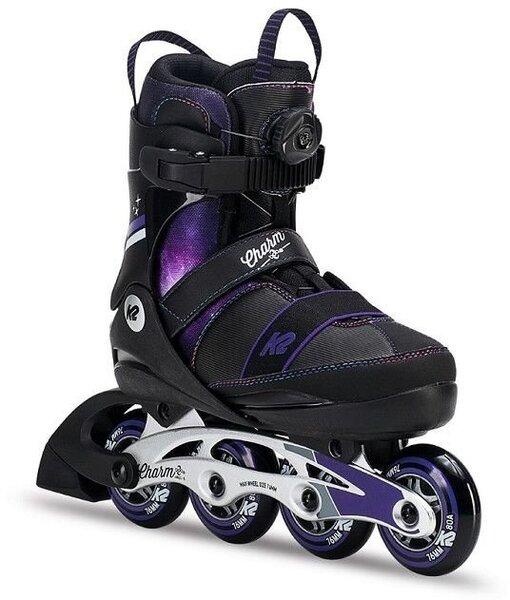 Роликовые коньки K2 Charm Boa Alu, черные /фиолетовые