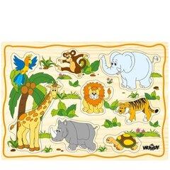 Koka puzle - eksotiskie dzīvnieki Woody 90252