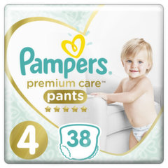 Подгузники PAMPERS Premium Pants, Value Pack,4 размер, 38 шт. цена и информация | Для ухода за младенцем | 220.lv