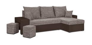 Universāls stūra dīvāns ar pufu Bellezza Hubert, brūns cena un informācija | Universāls stūra dīvāns ar pufu Bellezza Hubert, brūns | 220.lv